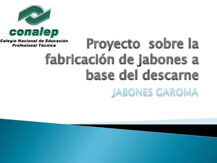 Proyecto  sobre la fabricación de jabones a base del descarne<br />JABONES GAROMA<br />