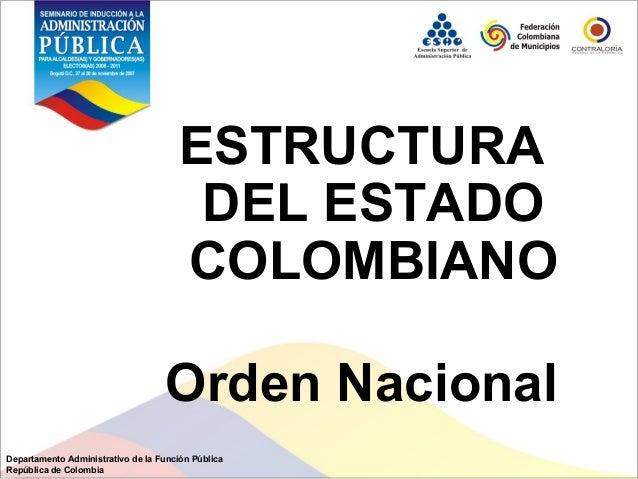 Diapositiva De La Estructura Del Estado Colombiano