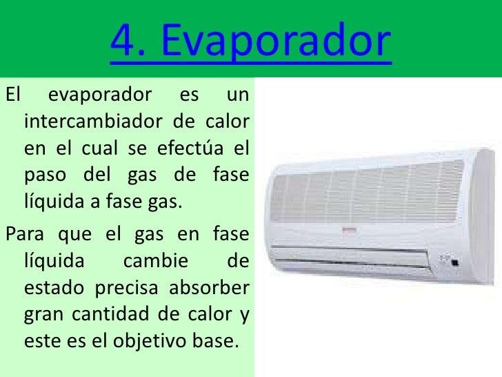 4. EvaporadorEl   evaporador es un  intercambiador de calor  en el cual se efectúa el  paso del gas de fase  líquida a fas...