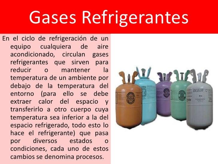 Gases RefrigerantesEn el ciclo de refrigeración de un  equipo cualquiera de aire  acondicionado, circulan gases  refrigera...