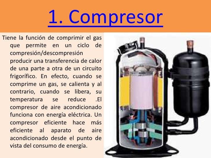 1. CompresorTiene la función de comprimir el gas   que permite en un ciclo de   compresión/descompresión   producir una tr...