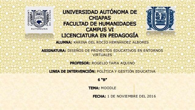 UNIVERSIDAD AUTÓNOMA DE CHIAPAS FACULTAD DE HUMANIDADES CAMPUS VI LICENCIATURA EN PEDAGOGÍA ALUMNA: KARINA DEL ROCÍO HERNÁ...