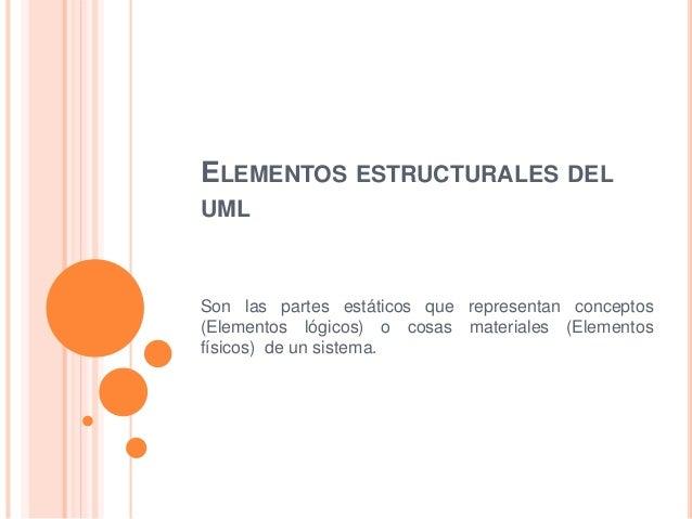 ELEMENTOS ESTRUCTURALES DEL UML Son las partes estáticos que representan conceptos (Elementos lógicos) o cosas materiales ...