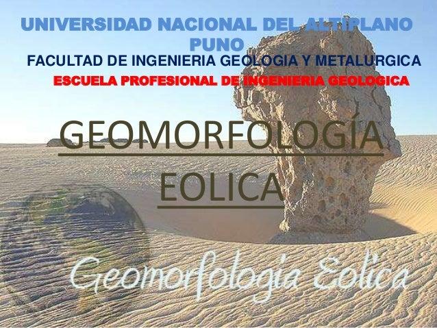 UNIVERSIDAD NACIONAL DEL ALTIPLANO PUNO FACULTAD DE INGENIERIA GEOLOGIA Y METALURGICA ESCUELA PROFESIONAL DE INGENIERIA GE...