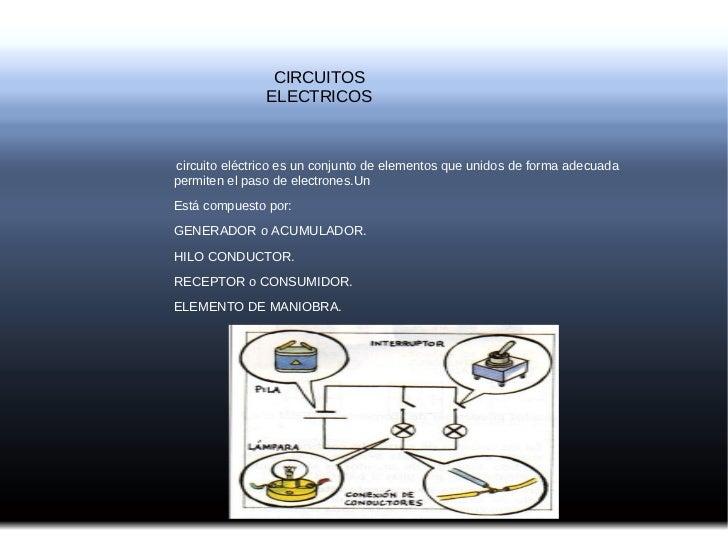 CIRCUITOS ELECTRICOS circuito eléctrico es un conjunto de elementos que unidos de forma adecuada permiten el paso de elect...