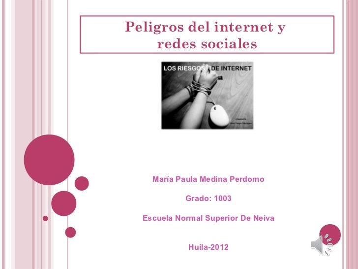 Peligros del internet y    redes sociales    María Paula Medina Perdomo            Grado: 1003  Escuela Normal Superior De...