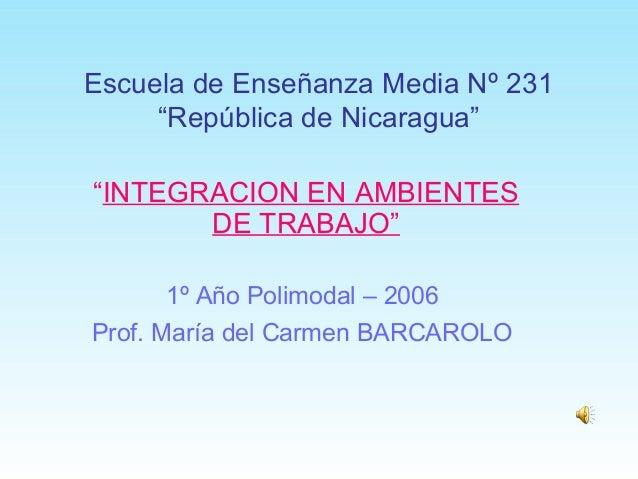 """Escuela de Enseñanza Media Nº 231 """"República de Nicaragua"""" """"INTEGRACION EN AMBIENTES DE TRABAJO"""" 1º Año Polimodal – 2006 P..."""