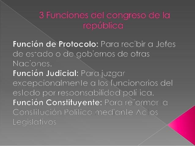 Funciones:  Servir de voceros frente al congreso  Presentar proyectos de ley frente al congreso  Tomar parte en los deb...