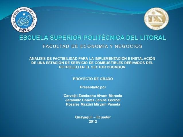 ANÁLISIS DE FACTIBILIDAD PARA LA IMPLEMENTACIÓN E INSTALACIÓN DE UNA ESTACIÓN DE SERVICIO DE COMBUSTIBLES DERIVADOS DEL PE...