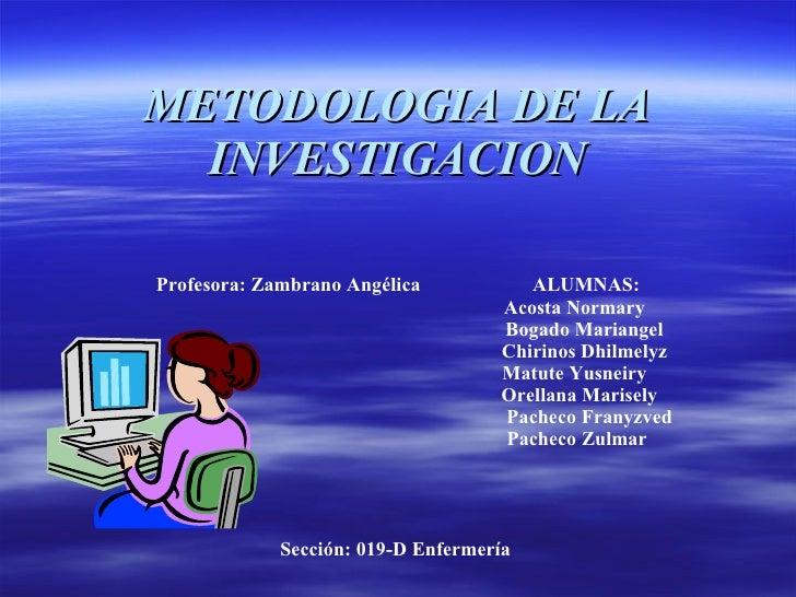 METODOLOGIA DE LA INVESTIGACION Profesora: Zambrano Angélica ALUMNAS: Acosta Normary Bogado Mariangel Chirinos Dhilmelyz M...