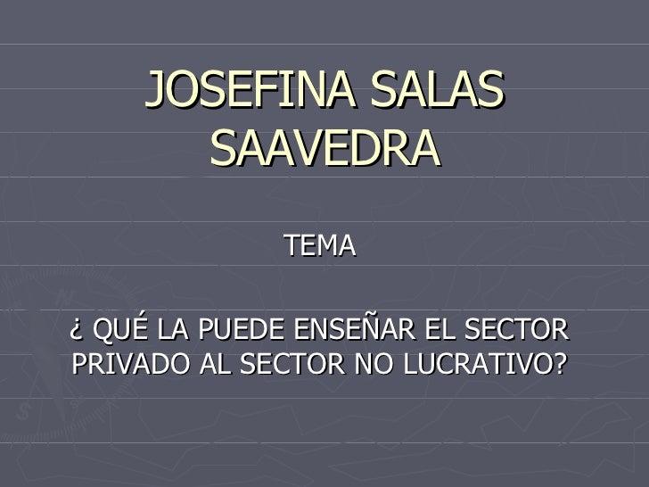 JOSEFINA SALAS SAAVEDRA TEMA ¿ QUÉ LA PUEDE ENSEÑAR EL SECTOR PRIVADO AL SECTOR NO LUCRATIVO?