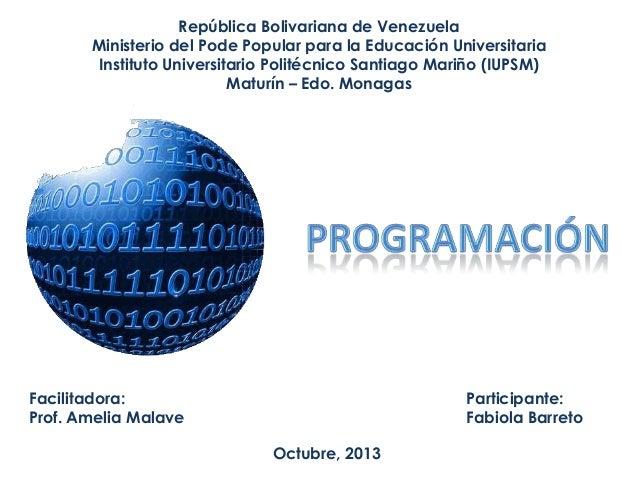 República Bolivariana de Venezuela Ministerio del Pode Popular para la Educación Universitaria Instituto Universitario Pol...