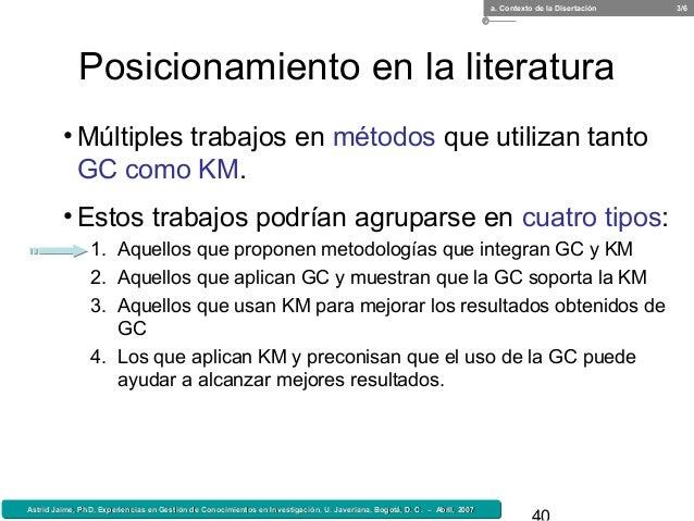 Astrid Jaime, PhD, Experiencias en Gestión de Conocimientos en Investigación, U. Javeriana, Bogotá, D. C. – Abril, 2007Ast...
