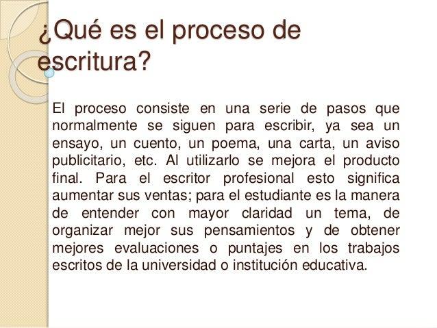 ¿Qué es el proceso de  escritura?  El proceso consiste en una serie de pasos que  normalmente se siguen para escribir, ya ...