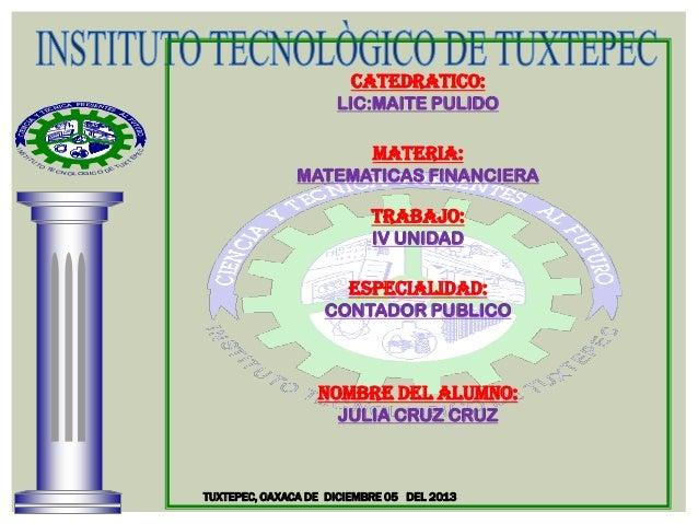 CATEDRATICO: LIC:MAITE PULIDO  X  U  T  IT  EP  ST  EC  IN TO  TE CN  E OL O GI C O D  TU  MATERIA: MATEMATICAS FINANCIERA...