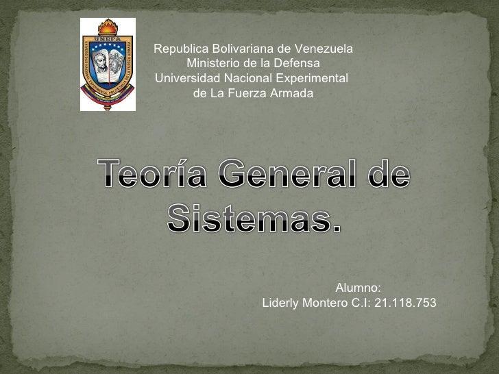 Republica Bolivariana de Venezuela Ministerio de la Defensa Universidad Nacional Experimental  de La Fuerza Armada Alumno:...