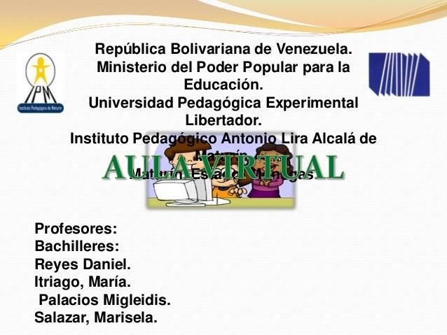 República Bolivariana de Venezuela.         Ministerio del Poder Popular para la                     Educación.        Uni...