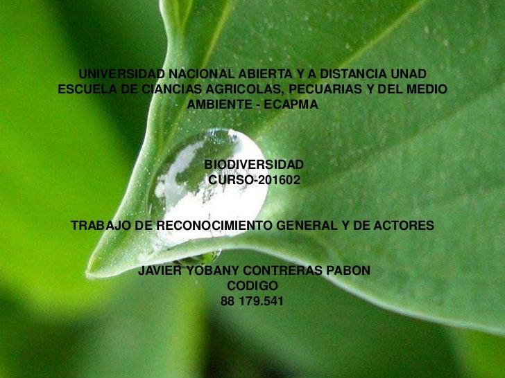 UNIVERSIDAD NACIONAL ABIERTA Y A DISTANCIA UNADESCUELA DE CIANCIAS AGRICOLAS, PECUARIAS Y DEL MEDIO                 AMBIEN...
