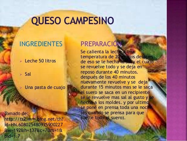 INGREDIENTES   Leche 50 litros   Sal   Una pasta de cuajo  PREPARACIÓN  Se calienta la leche a una  temperatura de 20 g...