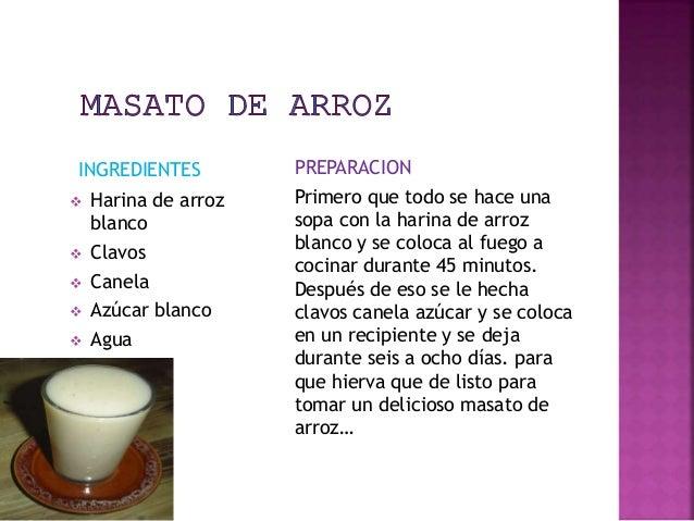 INGREDIENTES   Harina de arroz  blanco   Clavos   Canela   Azúcar blanco   Agua  PREPARACION  Primero que todo se hac...