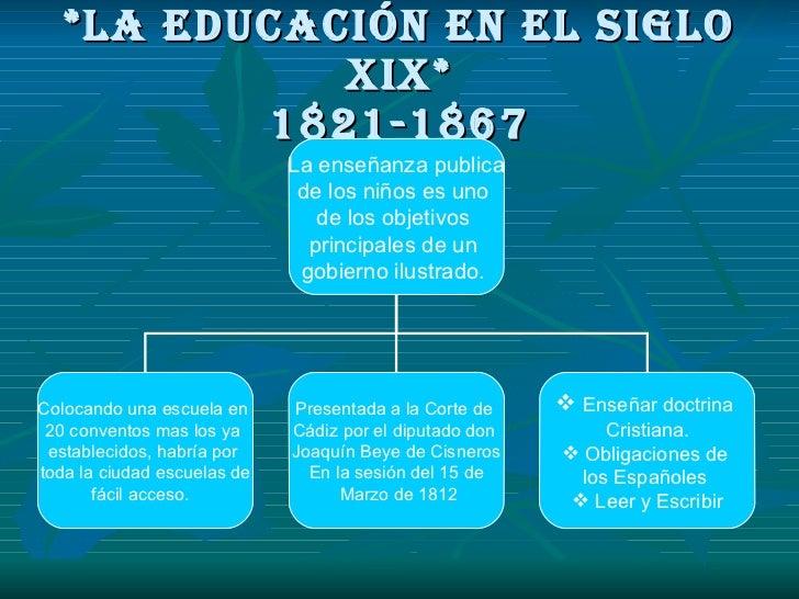 *la educación en el siglo xix* 1821-1867 La enseñanza publica de los niños es uno  de los objetivos  principales de un  go...