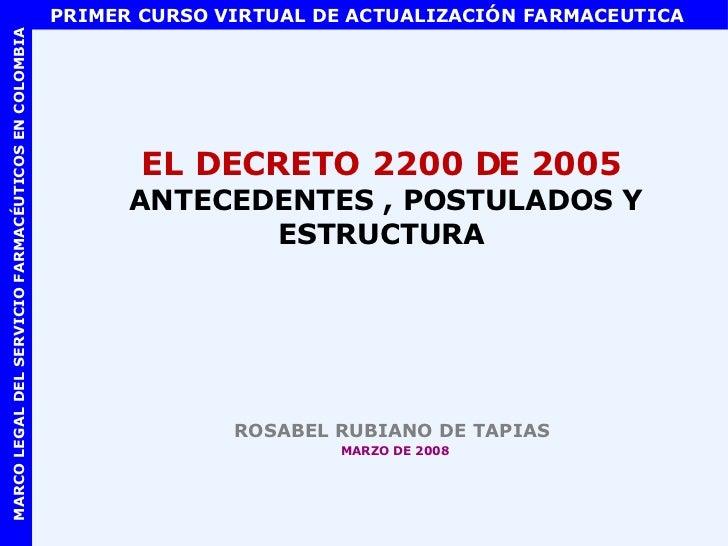 EL DECRETO 2200 DE 2005  ANTECEDENTES , POSTULADOS Y ESTRUCTURA <ul><li>ROSABEL RUBIANO DE TAPIAS  </li></ul><ul><li>MARZO...
