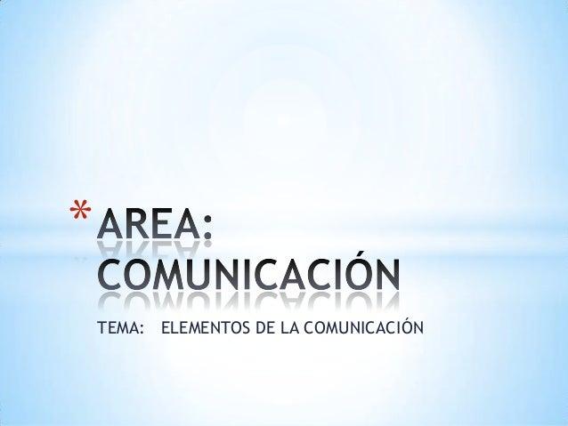 *    TEMA: ELEMENTOS DE LA COMUNICACIÓN