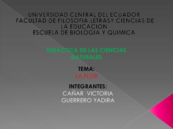 UNIVERSIDAD CENTRAL DEL ECUADOR<br /> FACULTAD DE FILOSOFIA.LETRASY CIENCIAS DE LA EDUCACION <br />ESCUELA DE BIOLOGIA Y Q...