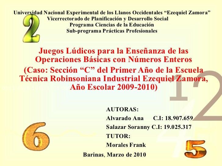 """Universidad Nacional Experimental de los Llanos Occidentales """"Ezequiel Zamora"""" Vicerrectorado de Planificación y Desarroll..."""
