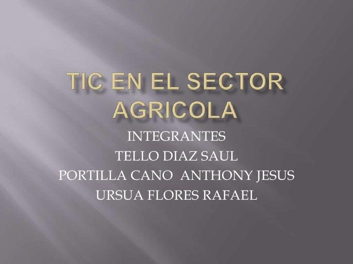 TIC EN EL SECTOR AGRICOLA<br />INTEGRANTES<br />TELLO DIAZ SAUL<br />PORTILLA CANO  ANTHONY JESUS<br />URSUA FLORES RAFAEL...