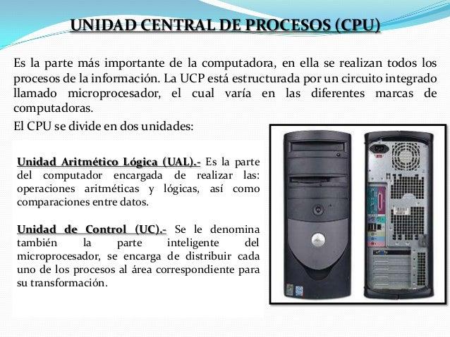UNIDAD CENTRAL DE PROCESOS (CPU) Es la parte más importante de la computadora, en ella se realizan todos los procesos de l...