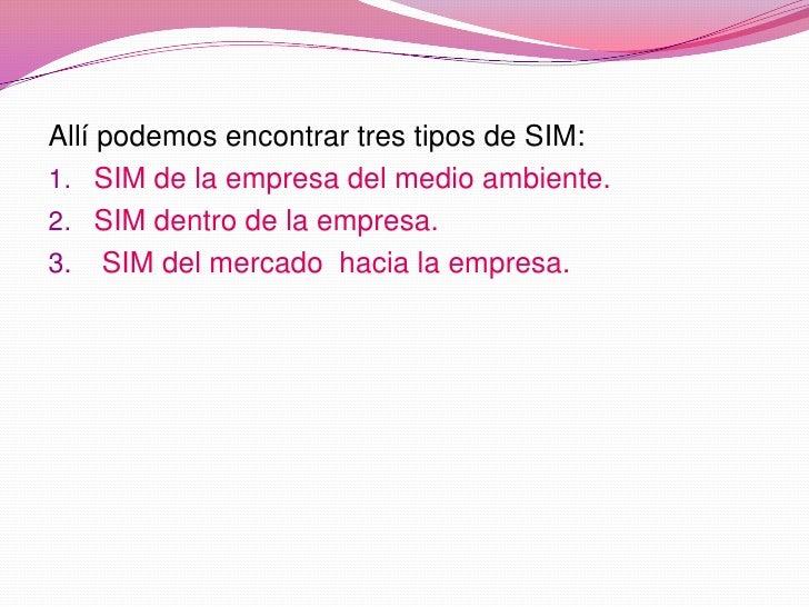 Allí podemos encontrar tres tipos de SIM:<br />SIM de la empresa del medio ambiente.<br />SIM dentro de la empresa.<br /> ...