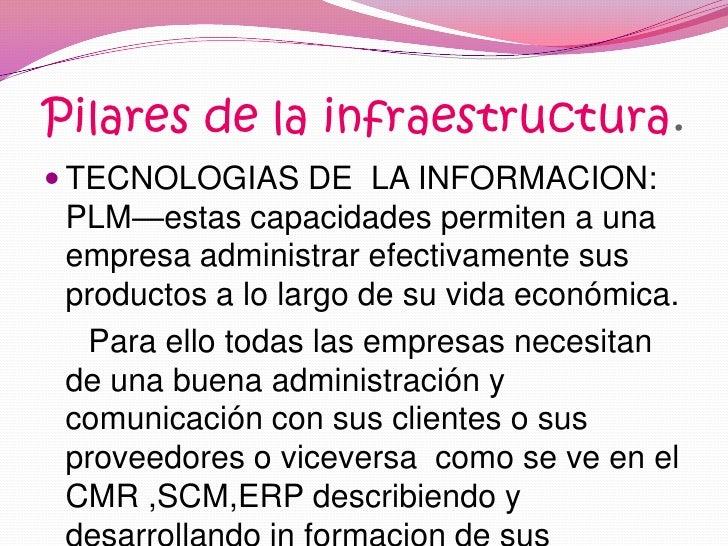 Pilares de la infraestructura.<br />TECNOLOGIAS DE  LA INFORMACION: PLM—estas capacidades permiten a una empresa administr...