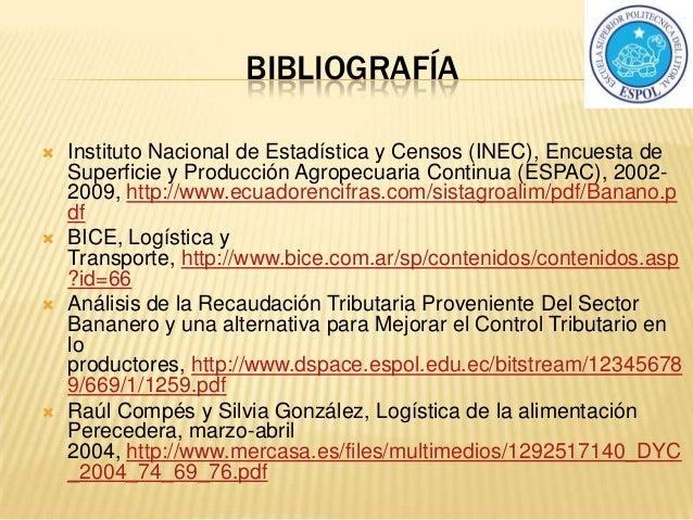 BIBLIOGRAFÍA  Instituto Nacional de Estadística y Censos (INEC), Encuesta de Superficie y Producción Agropecuaria Continu...