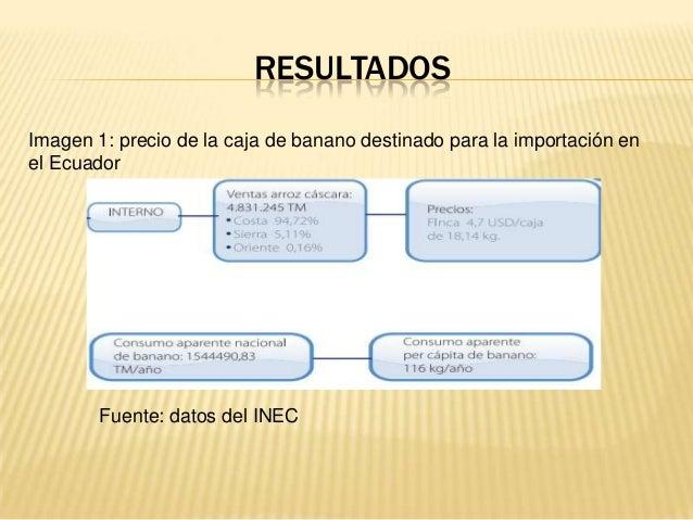 RESULTADOS Imagen 1: precio de la caja de banano destinado para la importación en el Ecuador Fuente: datos del INEC