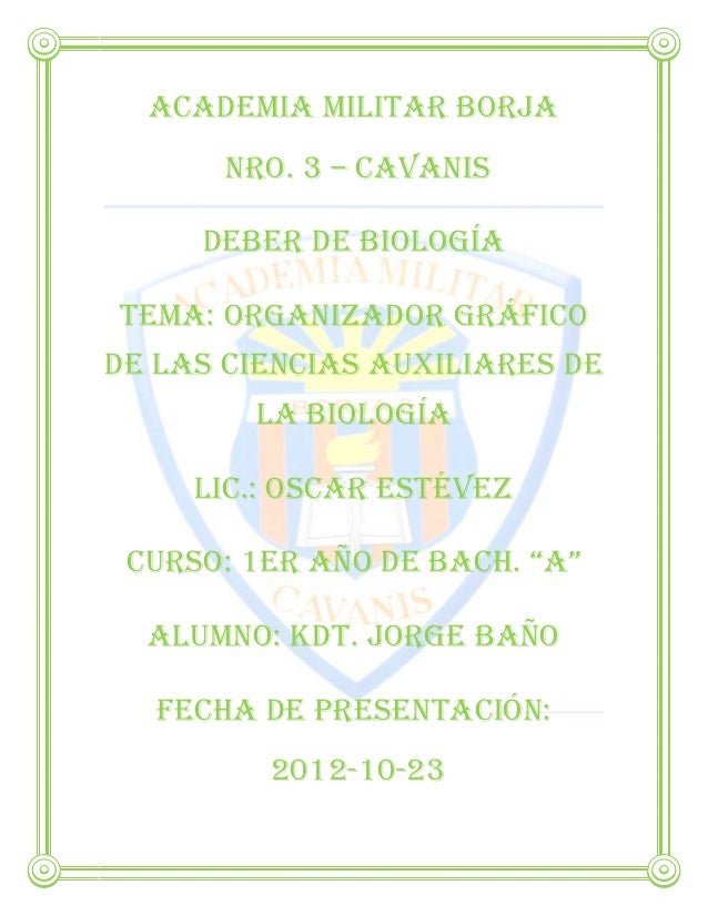 Academia Militar Borja       Nro. 3 – Cavanis     Deber de BiologíaTema: organizador gráficode Las ciencias auxiliares de ...