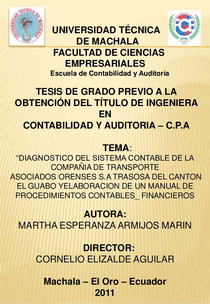 UNIVERSIDAD TÉCNICA            DE MACHALA        FACULTAD DE CIENCIAS          EMPRESARIALES        Escuela de Contabilida...