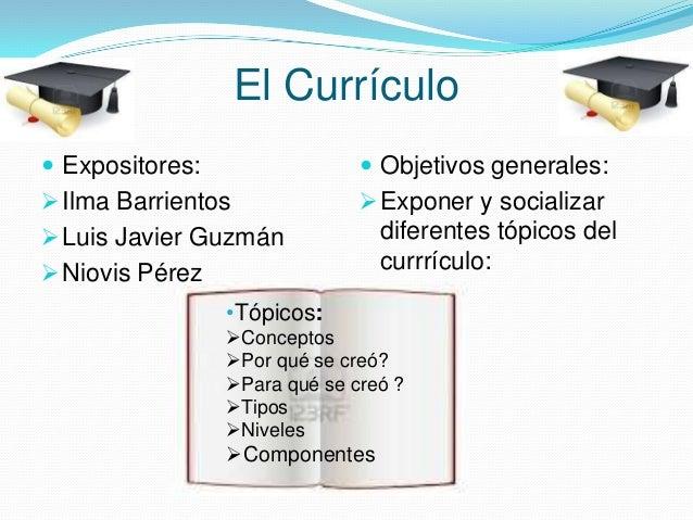 El Currículo  Expositores:   Objetivos generales:   Ilma Barrientos   Exponer y socializar   Luis Javier Guzmán  Nio...