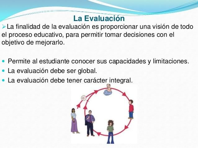 La Evaluación La finalidad de la evaluación es proporcionar una visión de todo  el proceso educativo, para permitir tomar...