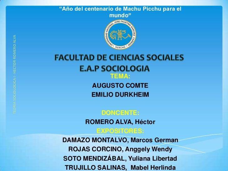 """""""Año del centenario de Machu Picchu para elTEORIA SOCIOLOGICA I - HECTOR ROMERO ALVA                     mundo""""           ..."""