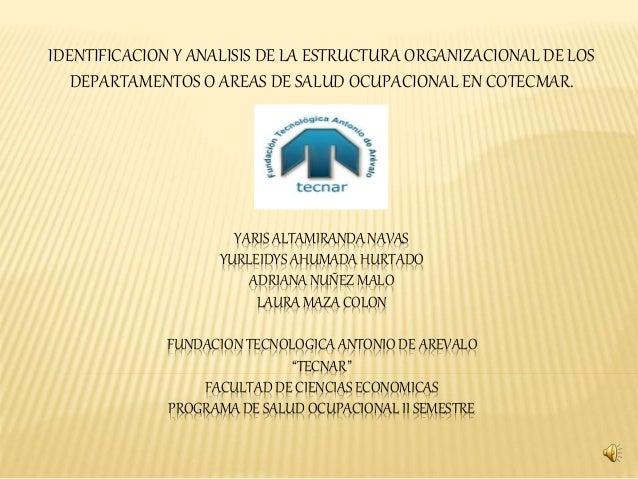 IDENTIFICACION Y ANALISIS DE LA ESTRUCTURA ORGANIZACIONAL DE LOS DEPARTAMENTOS O AREAS DE SALUD OCUPACIONAL EN COTECMAR.<b...
