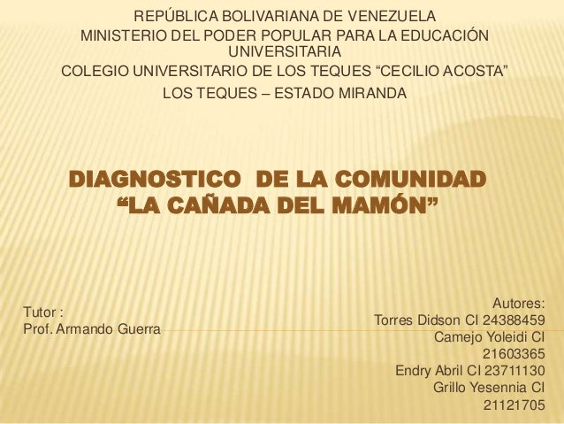 REPÚBLICA BOLIVARIANA DE VENEZUELA MINISTERIO DEL PODER POPULAR PARA LA EDUCACIÓN UNIVERSITARIA COLEGIO UNIVERSITARIO DE L...