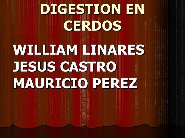 DIGESTION EN CERDOS WILLIAM LINARES JESUS CASTRO MAURICIO PEREZ
