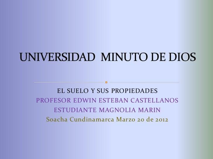 EL SUELO Y SUS PROPIEDADESPROFESOR EDWIN ESTEBAN CASTELLANOS    ESTUDIANTE MAGNOLIA MARIN  Soacha Cundinamarca Marzo 20 de...