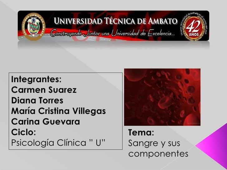 Integrantes:<br />Carmen Suarez<br />Diana Torres<br />María Cristina Villegas<br />Carina Guevara<br />Ciclo:<br />Psicol...