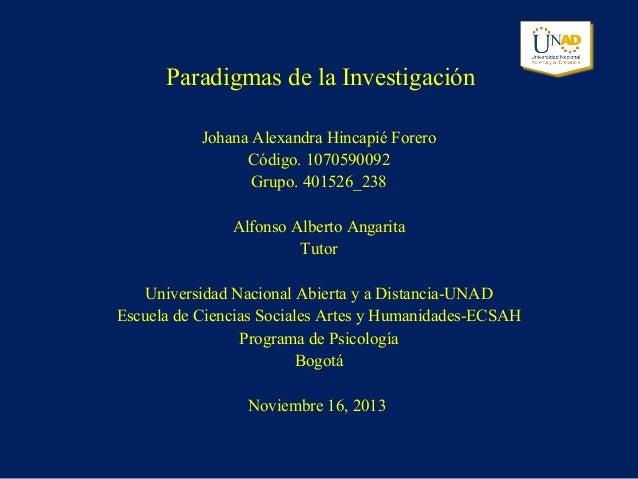 Paradigmas de la Investigación Johana Alexandra Hincapié Forero Código. 1070590092 Grupo. 401526_238 Alfonso Alberto Angar...