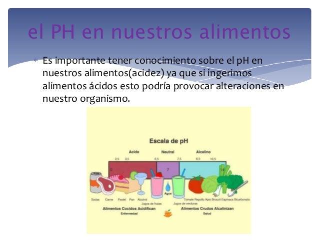 Es importante tener conocimiento sobre el pH ennuestros alimentos(acidez) ya que si ingerimosalimentos ácidos esto podría ...