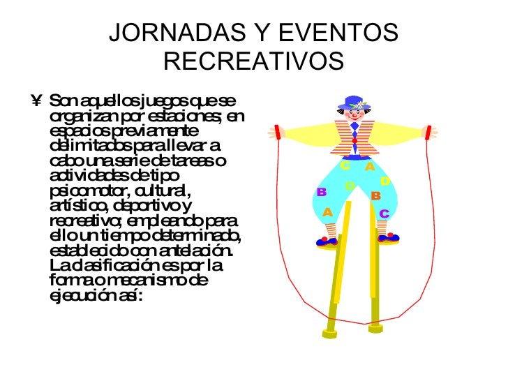 JORNADAS Y EVENTOS RECREATIVOS <ul><li>Son aquellos juegos que se organizan por estaciones; en espacios previamente delimi...