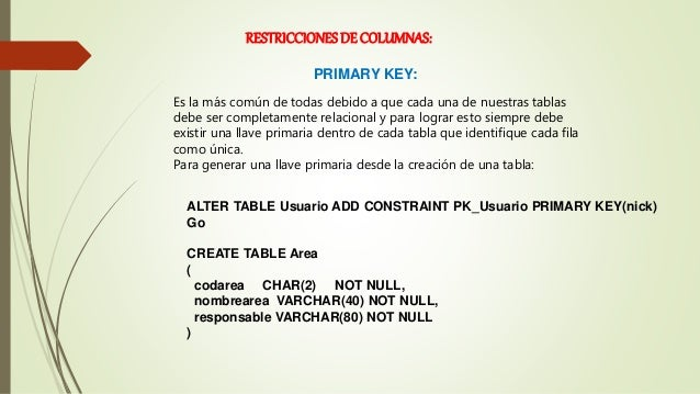 Diapositivas de tablas y tipos de datos - Alter table add constraint primary key ...