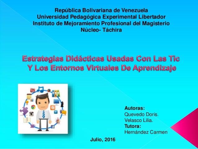 República Bolivariana de Venezuela Universidad Pedagógica Experimental Libertador Instituto de Mejoramiento Profesional de...